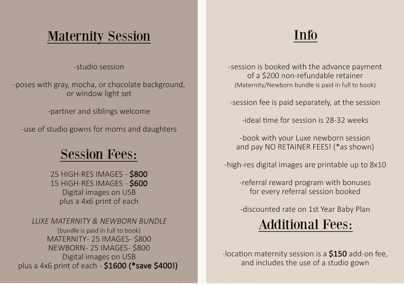 maternity session package pricing