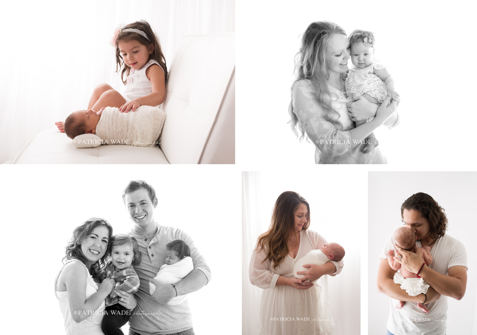 simplicity newborn session collage with black and white
