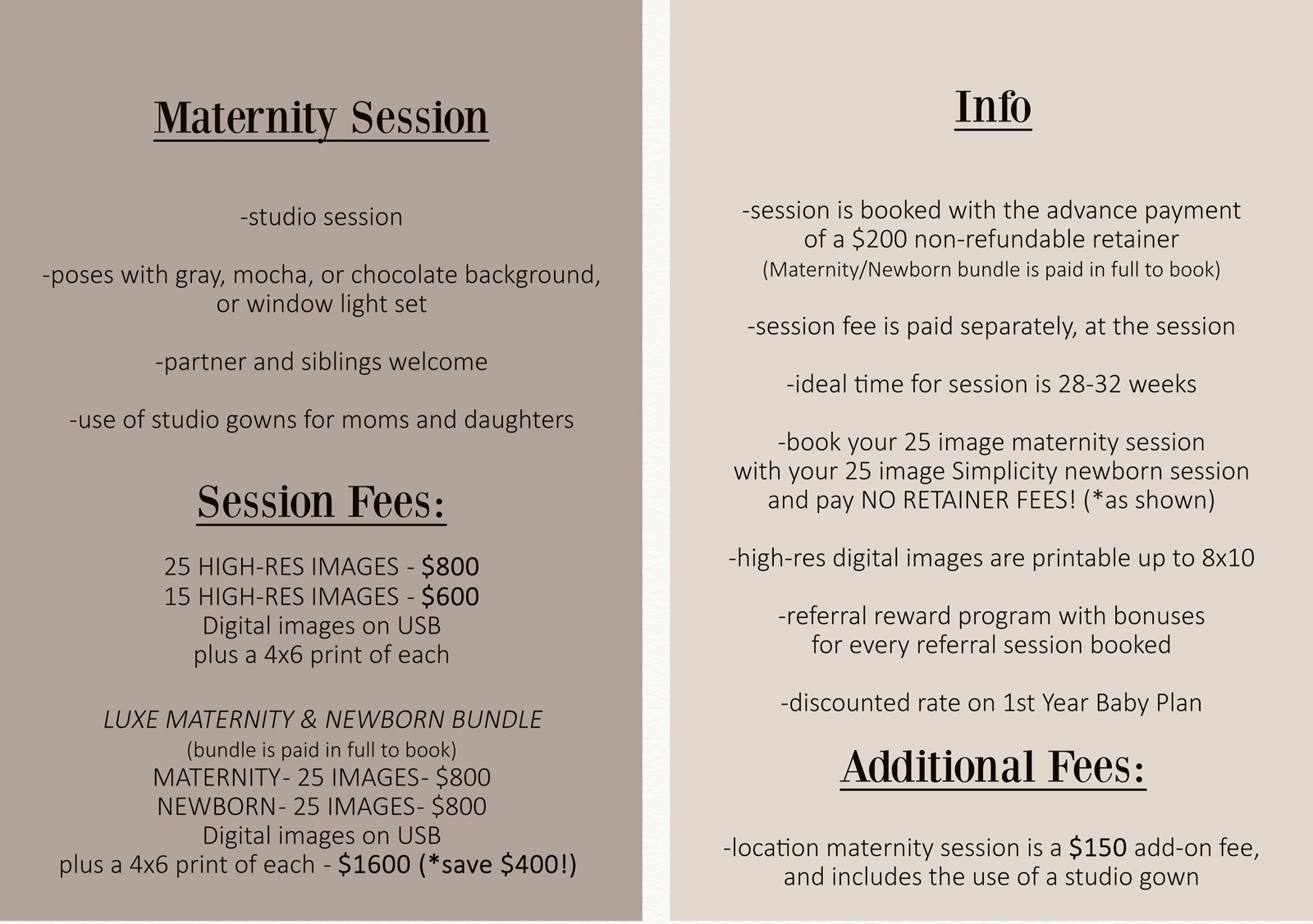 maternity professional photography session pricing